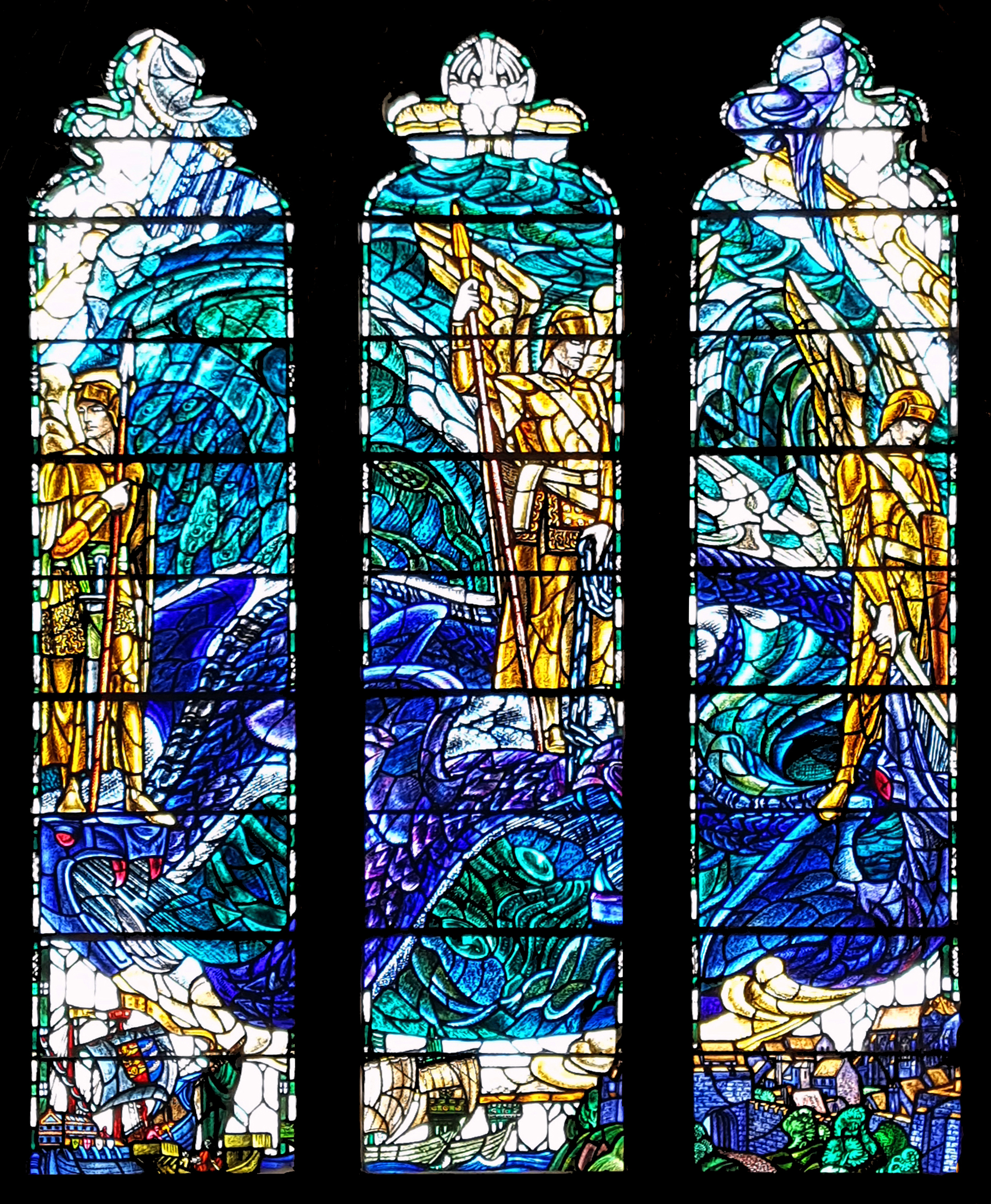 whole of the north aisle stained glass window, St Thomas', Winchelsea by Douglas Strachen