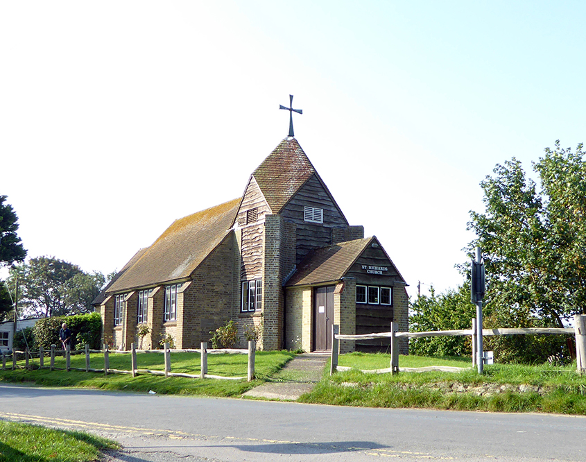 image of small church, St Richards in Winchelsea Beach